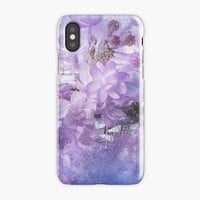 Floral iPhone X Case, iPhone Snap Case - Spring Lilac Flowers Abstract, iPhone 10 case