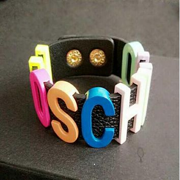 MOSCHINO Fashion Women Personal Metal Pu Leather Bracelet Hand Bracelet Hand Catenary Colorful