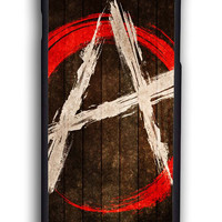 Anarchy Logo On Wood for Iphone 6 Hard Cover Plastic