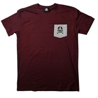 Burgundy Bones Pocket Tee