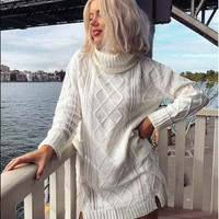 Women White Turtleneck Sweater Hollow Out Coarse Cable Knit Oversized Sweater Dress Winter Women Warm Baggy Sweater Female