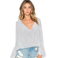 Tops For Women Blouse Bow Long Sleeve Shirt Women Off The Shoulder Autumn Sexy Tunic Flare Sleeve Causal Blouse Tops = 5613064833