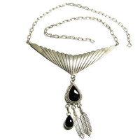 Navajo Sterling Asymmetrical Onyx Feather Necklace