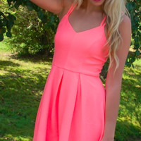 Show Off Your Tan Dress- Neon Coral