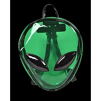 Green Alien Head PVC Backpack