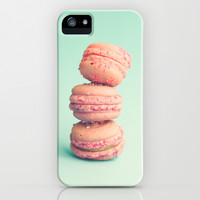 Pink Macaroons on Mint iPhone & iPod Case by AC Photography
