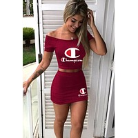 Champion tide brand female print letter sexy skirt set two-piece red