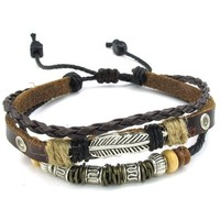 KONOV Mens Womens Leather Bracelet, Feather Charm 7-9 inch Adjustable Wrap Bangle, Brown Silver