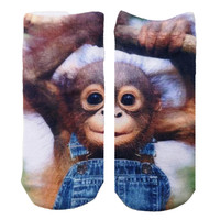 Brown Monkeying Around Knit Ankle Socks