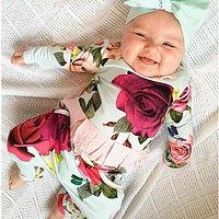 2PCS Newborn Infant Baby Girls Clothes Set Flower Cute T- Shirts Tops Long Sleeve Pants Outfits Girl Clothes Set