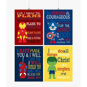 Christian Superhero Nursery Decor Set of 4 Prints - Ironman, Captain America, Spiderman and Hulk with Bible Verses