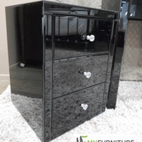 VEGAS Mirrored Black Glass Bedside Table Chest Nightstand