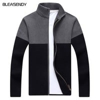 BLEASENDY 2017 New Men Slim Sweater Fashion Collar Collar Men's Casual Knitted Jacket Brand Men Clothing