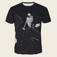 Fashion Casual Men Astronaut Print Tee
