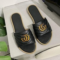 GUCCI GG women's double G flat metal buckle one-line outer slippers shoes