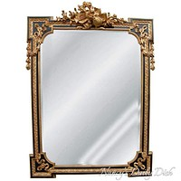 French Victorian Swags & Garland  Music Instruments Black Gilt Wall Mirror