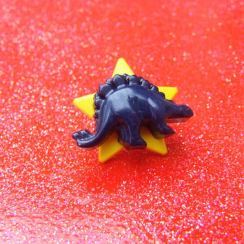 I Love Dinosaurs Brooch -Yellow Star Navy Blue Stegosaurus - Funky Fun Layered Plastic Pin - One of a Kind Brooch