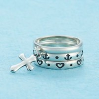 Faith, Hope, and Love Stacked Rings with Dangle | James Avery