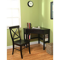 Black Corner Desk and Crossback Chair 2-piece Study Set | Overstock.com