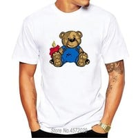 Bear Teddy T-Shirt Men Adult Humor Humor Dark Humor Blood Knife Psycho Stuffed Teddy T shirt Hip Hop Cartoon Top Clothing 3XL