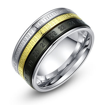 Stainless Steel Number Spinner Ring