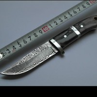 SK018 damascus knives outdoor survival damascus steel hunting knives ox horn handle amry knife damascus steel