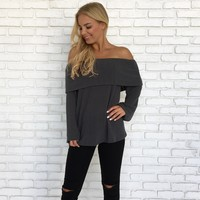 Nirvana Knit Sweater Top in Charcoal
