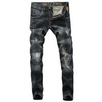 Mens Street Style Jeans High Quality Slim Fit Ripped Jeans For Men Patchwork Pants Italian Style Brand Biker Jeans