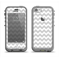 The Gray & White Chevron Pattern Apple iPhone 5c LifeProof Nuud Case Skin Set