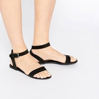 Pieces | Pieces Carla Black Leather Flat Sandals at ASOS