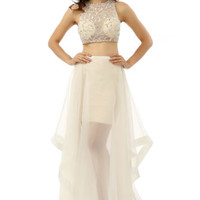 Sexy Two Pieces Crew Prom Dresses Long Sheer Tulle Wedding Party Evening Gowns