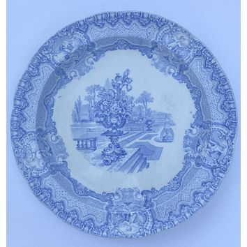 Rare Antique Lt Blue Transferware Copeland Spode Tart Plate Ornate Urn of JUNE Flowers