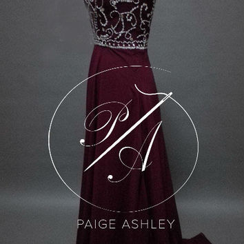 Long Burgundy Embroided Boat Neck Homecoming Prom Reception Custom Dress