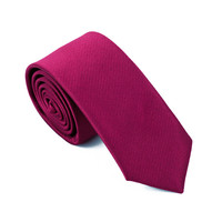 Ties For Men 100% Silk Skinny Narrow Dark Red Jacquard Woven Neckties For Wedding Party Business