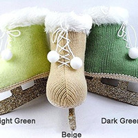Vintage Knit Ice Skate Ornaments with Glitter Blades (Light Green)
