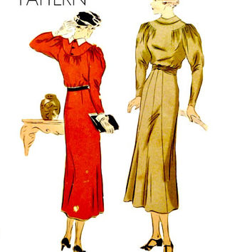 30s Vogue Pattern Easy to Sew Day Dress Gathered Bodice Yoke Sleeves Fold Over Collar Size 18 Bust 36 Vintage 7113 Sewing Patterns Unprinted