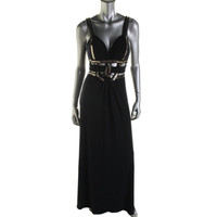 Blondie Nites Womens Juniors Embellished Cut-Out Evening Dress