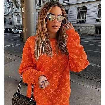 LV Louis Vuitton Women's 3D three-dimensional printing letters round neck long-sleeved T-shirt all-match sweater T-shirt