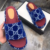 inseva GUCCI new women's GG embroidered letter platform slippers high quality Blue