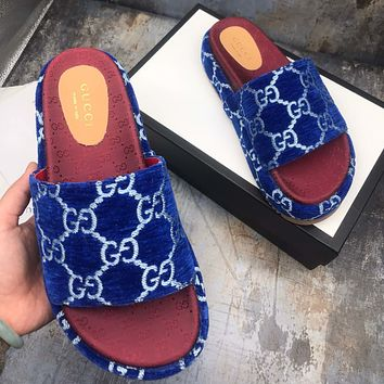GUCCI new women's GG embroidered letter platform slippers high quality Blue