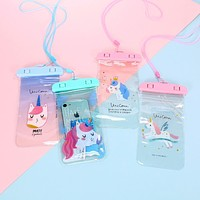 Korean Flamingo Cactus Unicorn Waterproof Pouch Bag Cell Phone Case For iPhone Samsung Coin Purse Card Holder Storage Wallet Bag