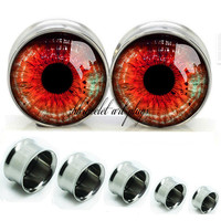 Eyes ball   Double Flare steel  plugs,womens plugs,Body Piercing Gifts,0g plugs,00 plug,birthday presents for him,groom &bride gift