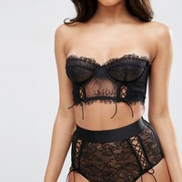 ASOS FAYE Satin & Lace Up Underwire Bustier Bra at asos.com