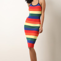 Colorful Striped Ribbed Knit Halter Dress | UrbanOG