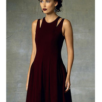 Vogue 1424 SHOULDER-CUTOUT DRESS Pattern Fit and Flare Dress with Exposed Back Zipper Rebecca Taylor Designer UNCuT Womens Sewing Patterns