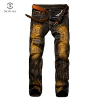 Jeans Male Hole  And American Old Slim Straight Men's Jeans 2018  Drunk New Hot Sale
