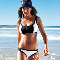 Black White Patchwork Crop Top U-Neck Swimsuit Swimwear Bikini