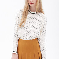 FOREVER 21 Ruffled Trim Polka Dot Blouse Cream/Black