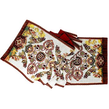 Tache Elegant Burgundy Ornate Paisley Woven Tapestry Table Runner (18194)