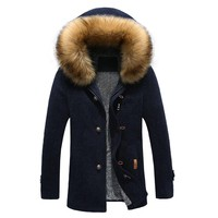 Windbreakers for men Big wool collar Thickened warming clothes fashion casual jackets for men long coat High Quality Gent Life